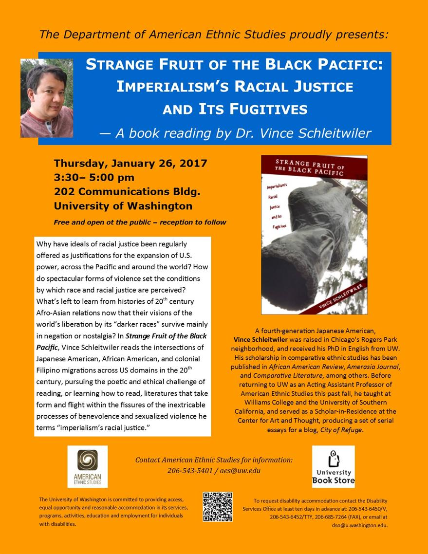 Book Reading: Strange Fruit of the Black Pacific: Imperialism's Racial Justice and Its Fugitives -- by Dr. Vince Schleitwiler