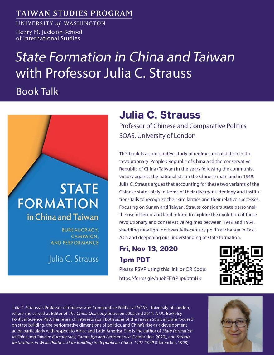 Book Talk: State Formation in China and Taiwan with Julia Strauss