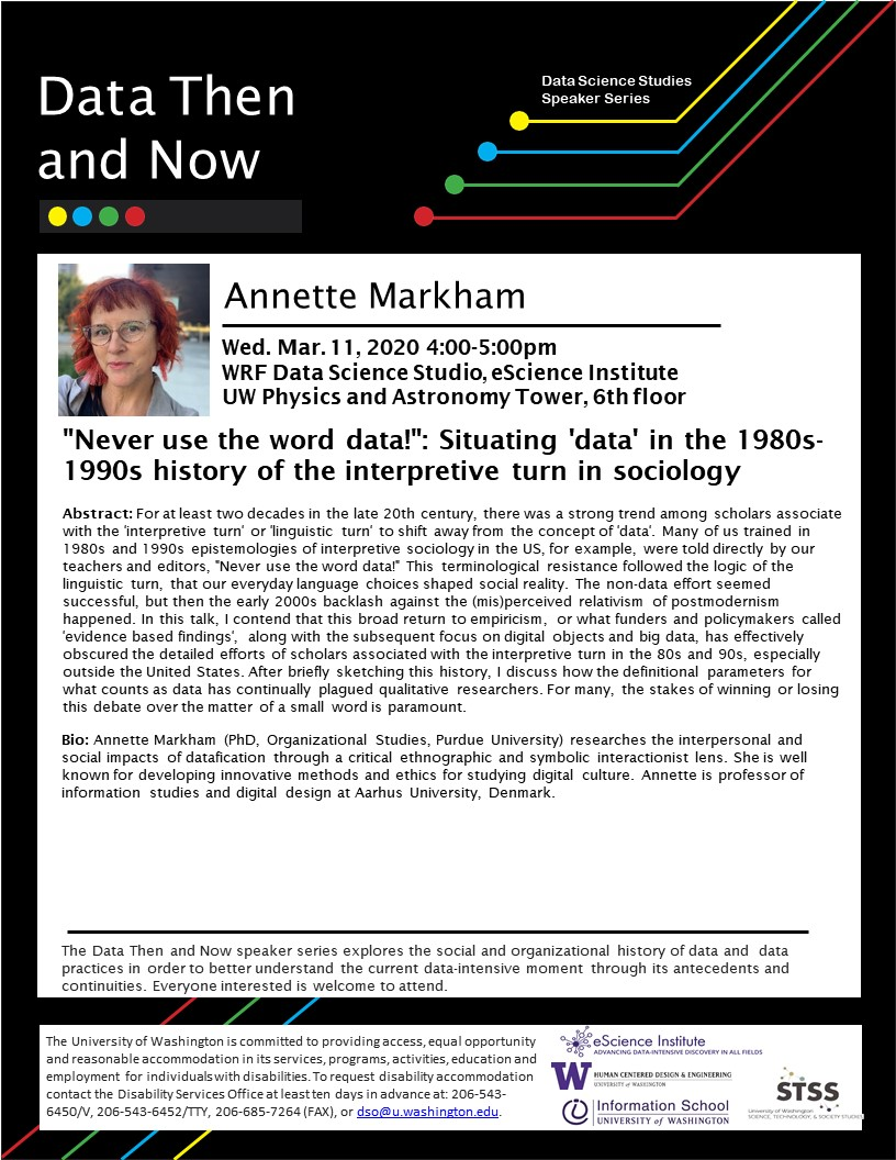 """'Never use the word data!': Situating 'data' in the 1980s-1990s history of the the interpretive turn in sociology"" by Annette Markham"