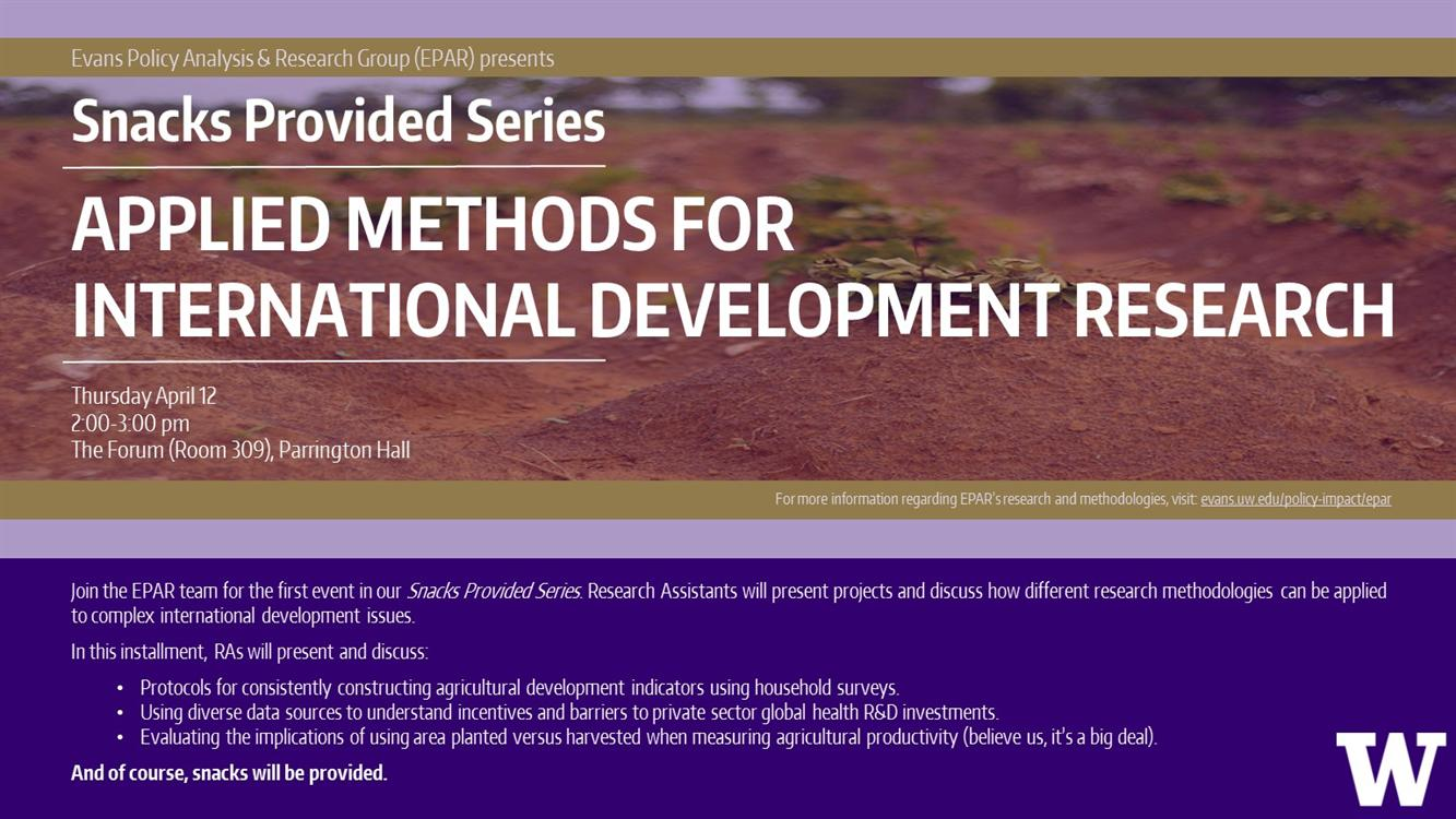 EPAR Snacks Provided Series: Applied Methods for International Development Research