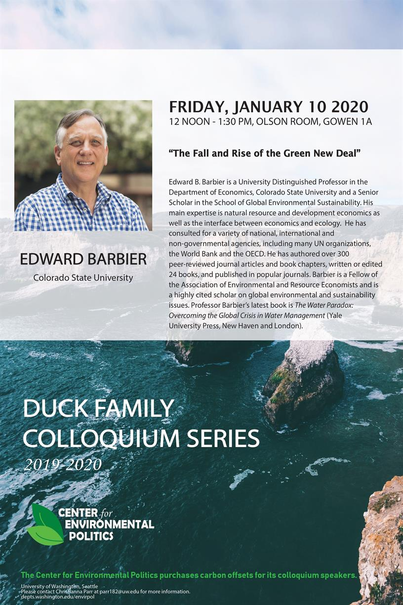 Edward Barbier: UW Center for Environmental Politics' Duck Family Colloquium Series
