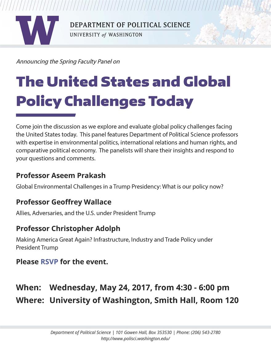 Spring Faculty Panel: The U.S. and Global Policy Challenges Today