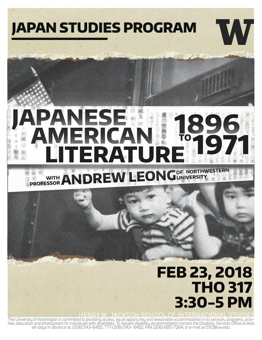 """Lecture: """"Klondike to Wapato: The Gold Standards of Japanese American Literature, 1896-1971"""" with Andrew Leong"""